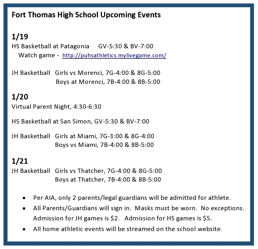 FTHS Upcoming Events