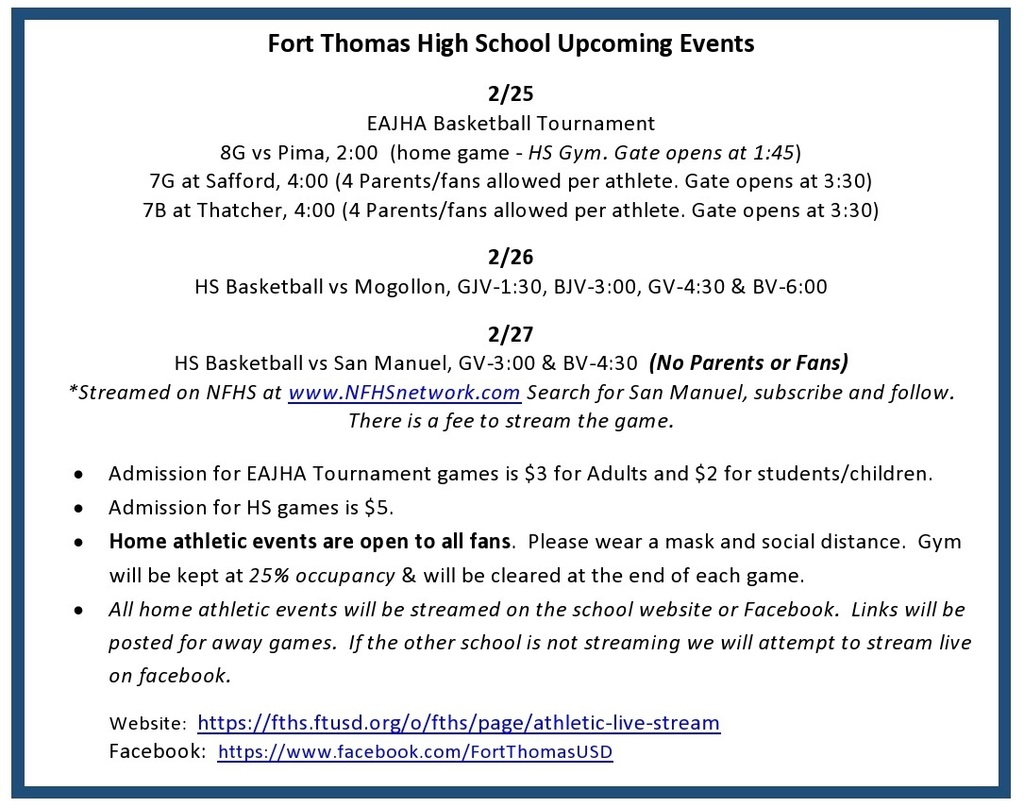 FTHS:   Athletic Events for 2/25-27/2021