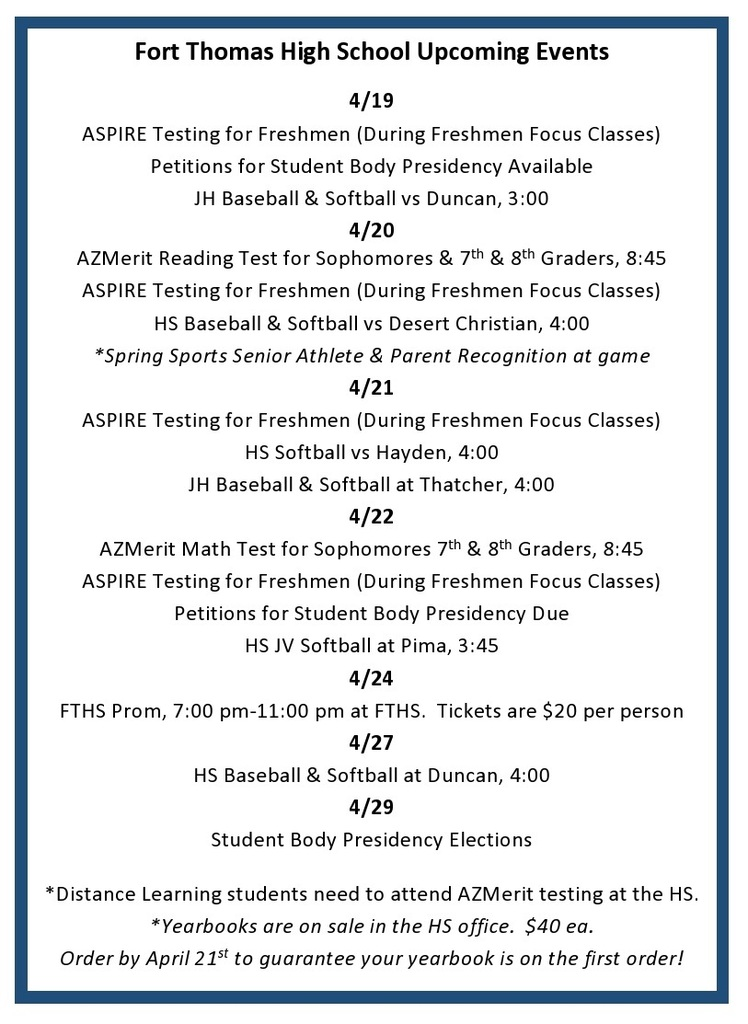 FTHS Events for 4/19-29