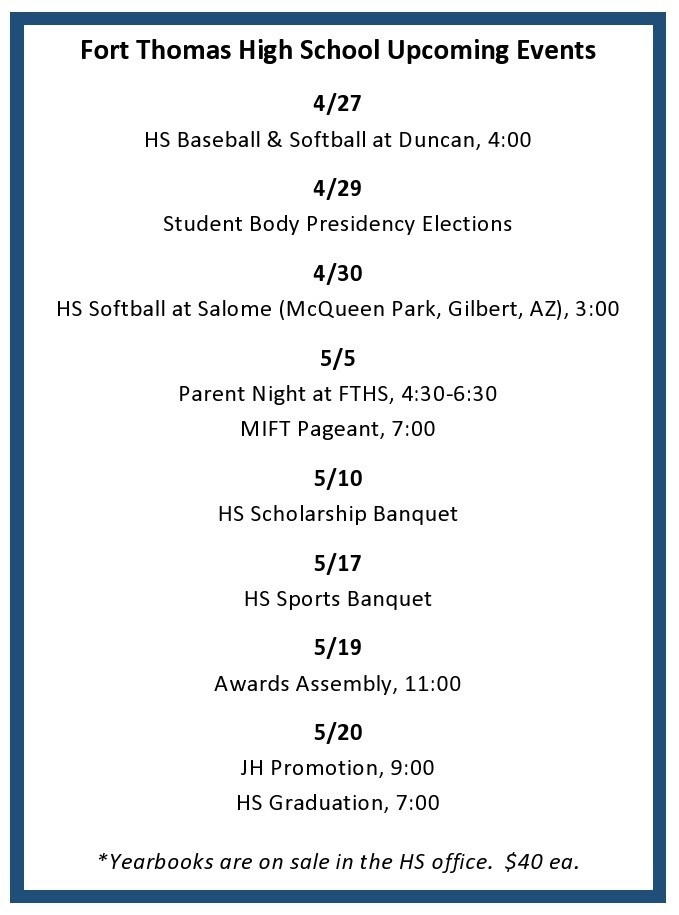 FTHS:  Events for 4/26-5/20/2021