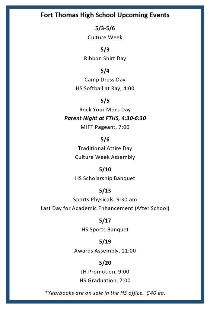 FTHS Events for 5/3-5/20